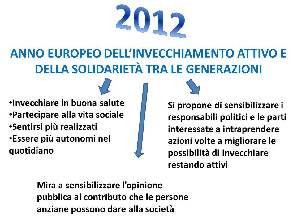 2012 ANNO EUROPEO DELL'INVECCHIAMENTO ATTIVO E DELLA SOLIDARIETÀ TRA LE GENERAZIONI. Invecchiare in buona salute.