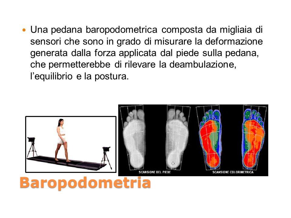 Una pedana baropodometrica composta da migliaia di sensori che sono in grado di misurare la deformazione generata dalla forza applicata dal piede sulla pedana, che permetterebbe di rilevare la deambulazione, l'equilibrio e la postura.