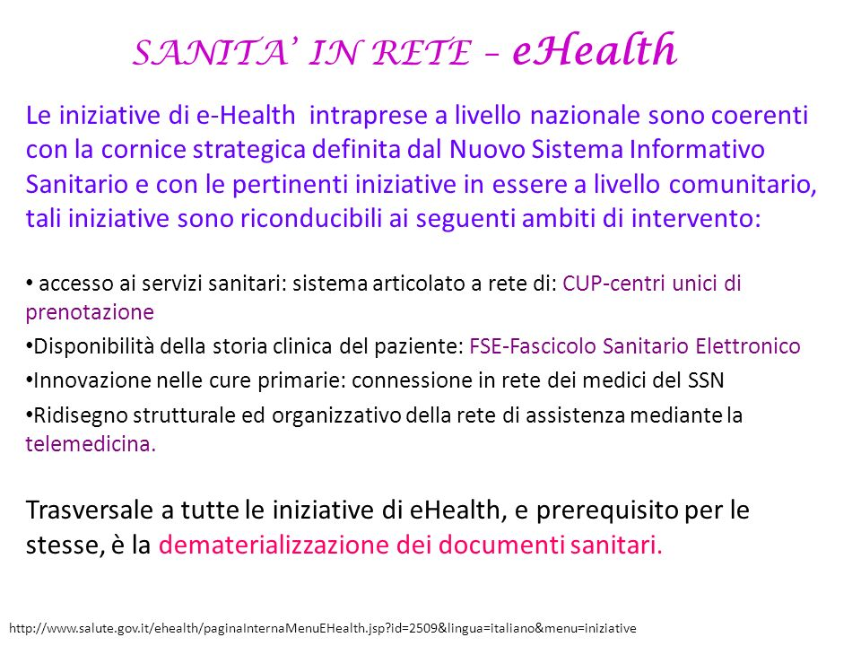 SANITA' IN RETE – eHealth