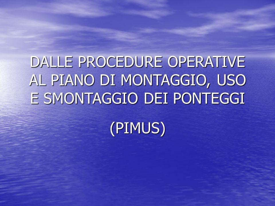 DALLE PROCEDURE OPERATIVE AL PIANO DI MONTAGGIO, USO E SMONTAGGIO DEI PONTEGGI