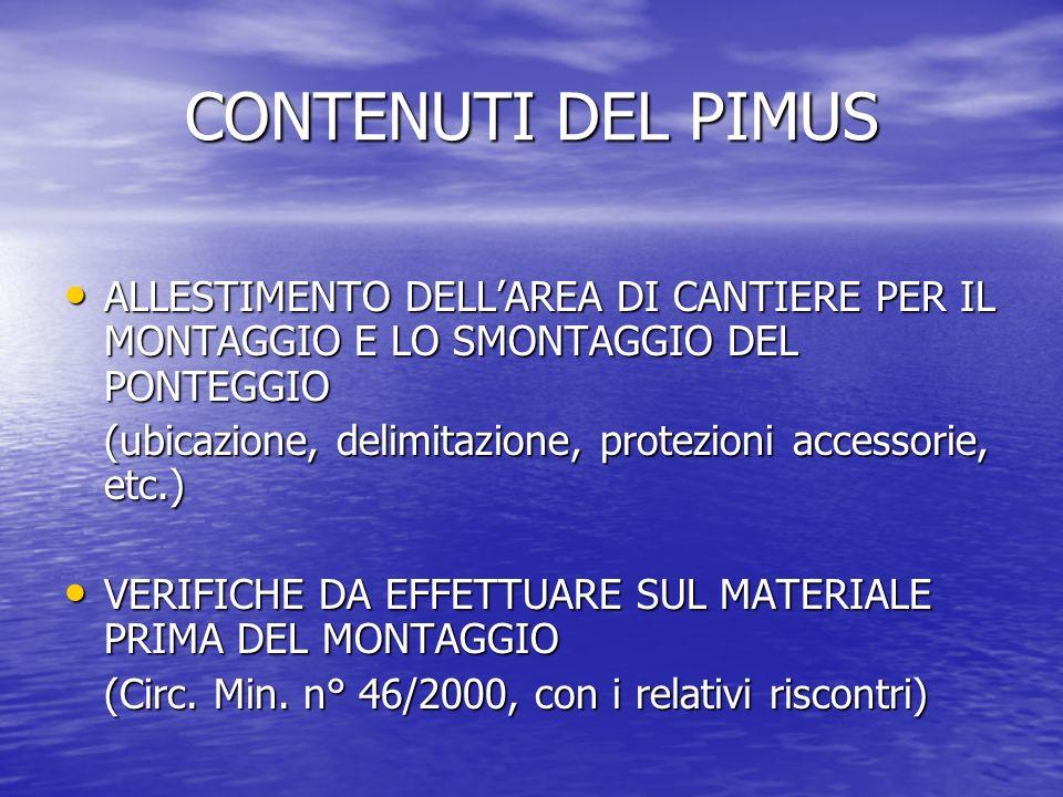 CONTENUTI DEL PIMUSALLESTIMENTO DELL'AREA DI CANTIERE PER IL MONTAGGIO E LO SMONTAGGIO DEL PONTEGGIO.