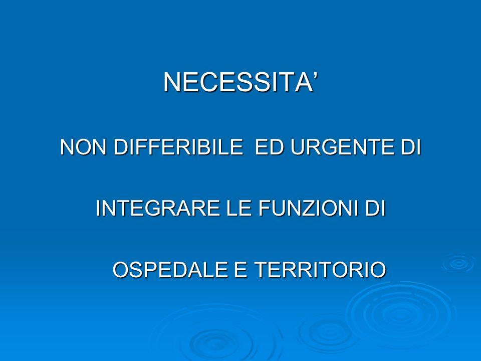 NECESSITA' NON DIFFERIBILE ED URGENTE DI INTEGRARE LE FUNZIONI DI