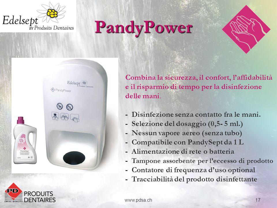 PandyPower Combina la sicurezza, il confort, l'affidabilità e il risparmio di tempo per la disinfezione delle mani.