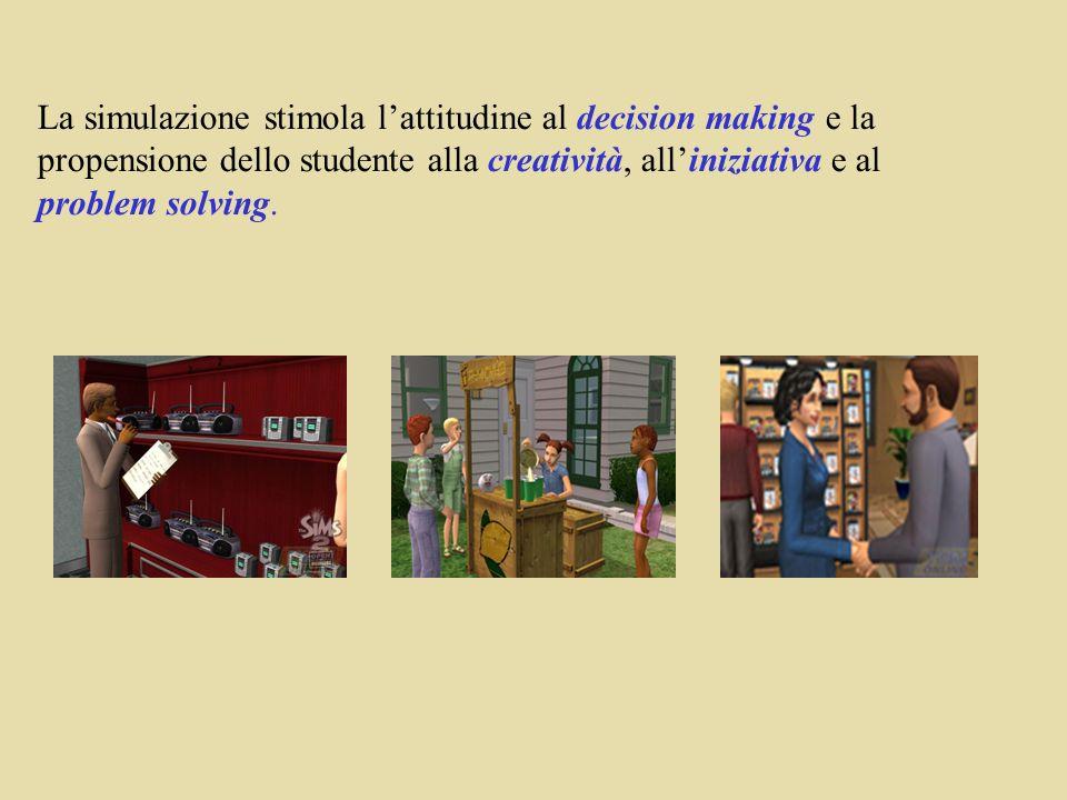 La simulazione stimola l'attitudine al decision making e la propensione dello studente alla creatività, all'iniziativa e al problem solving.