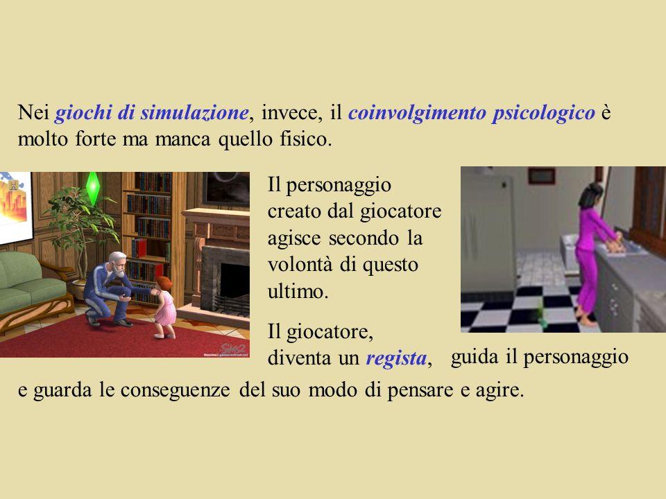 Nei giochi di simulazione, invece, il coinvolgimento psicologico è molto forte ma manca quello fisico.