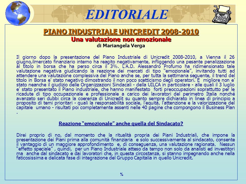 EDITORIALE PIANO INDUSTRIALE UNICREDIT 2008-2010