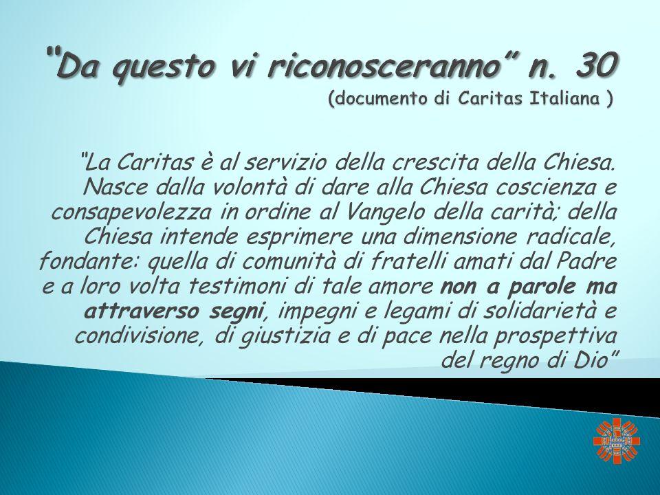 Da questo vi riconosceranno n. 30 (documento di Caritas Italiana )