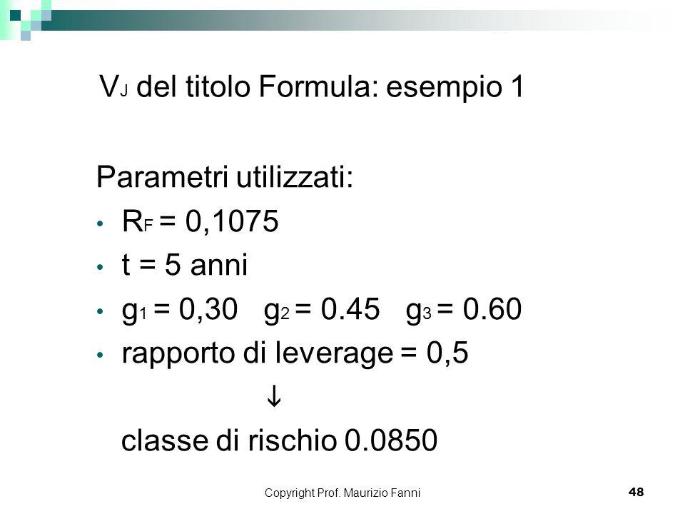VJ del titolo Formula: esempio 1