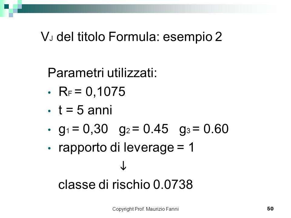 VJ del titolo Formula: esempio 2