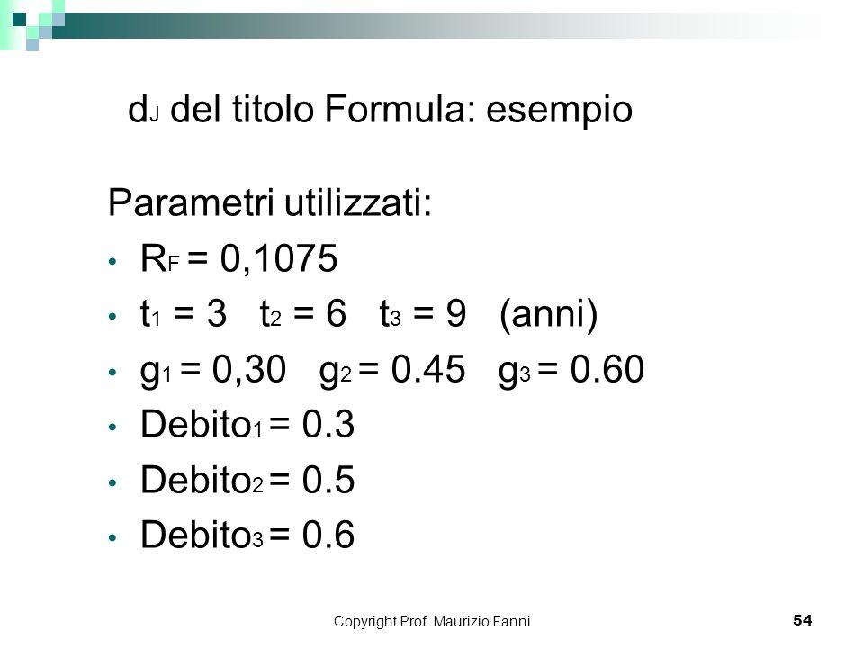 dJ del titolo Formula: esempio