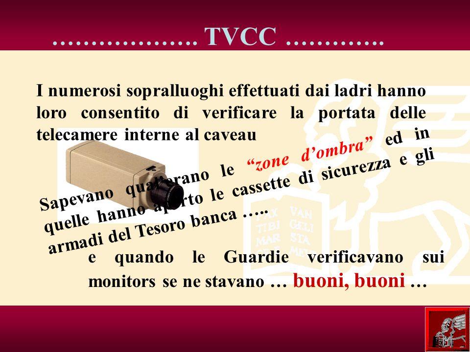 ………………. TVCC …………. I numerosi sopralluoghi effettuati dai ladri hanno loro consentito di verificare la portata delle telecamere interne al caveau.