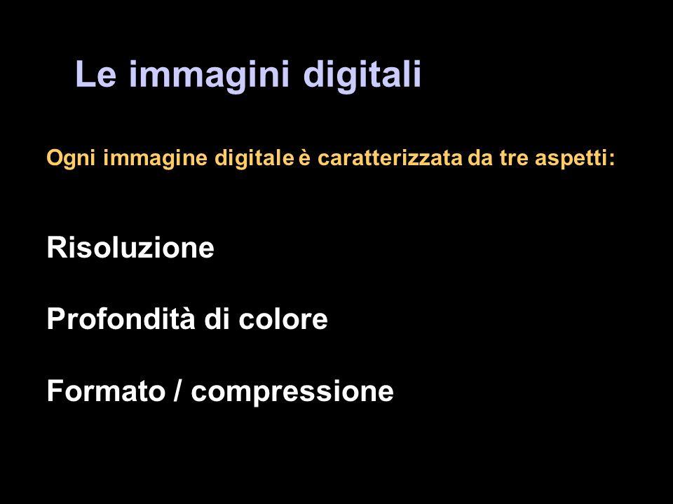 Le immagini digitali Risoluzione Profondità di colore