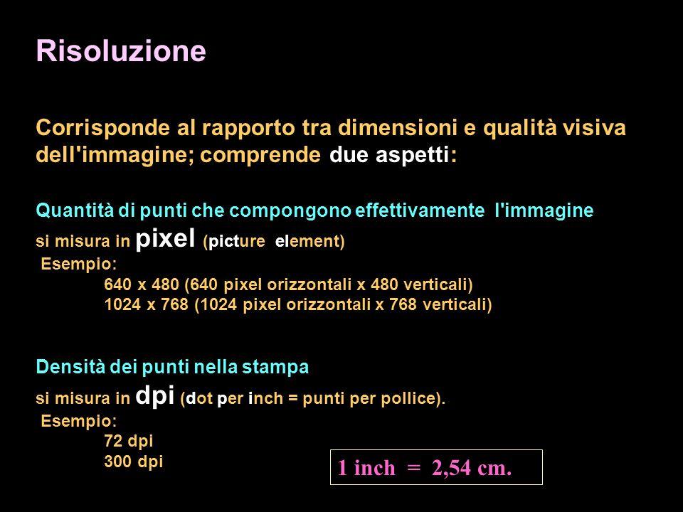 Risoluzione Corrisponde al rapporto tra dimensioni e qualità visiva dell immagine; comprende due aspetti: