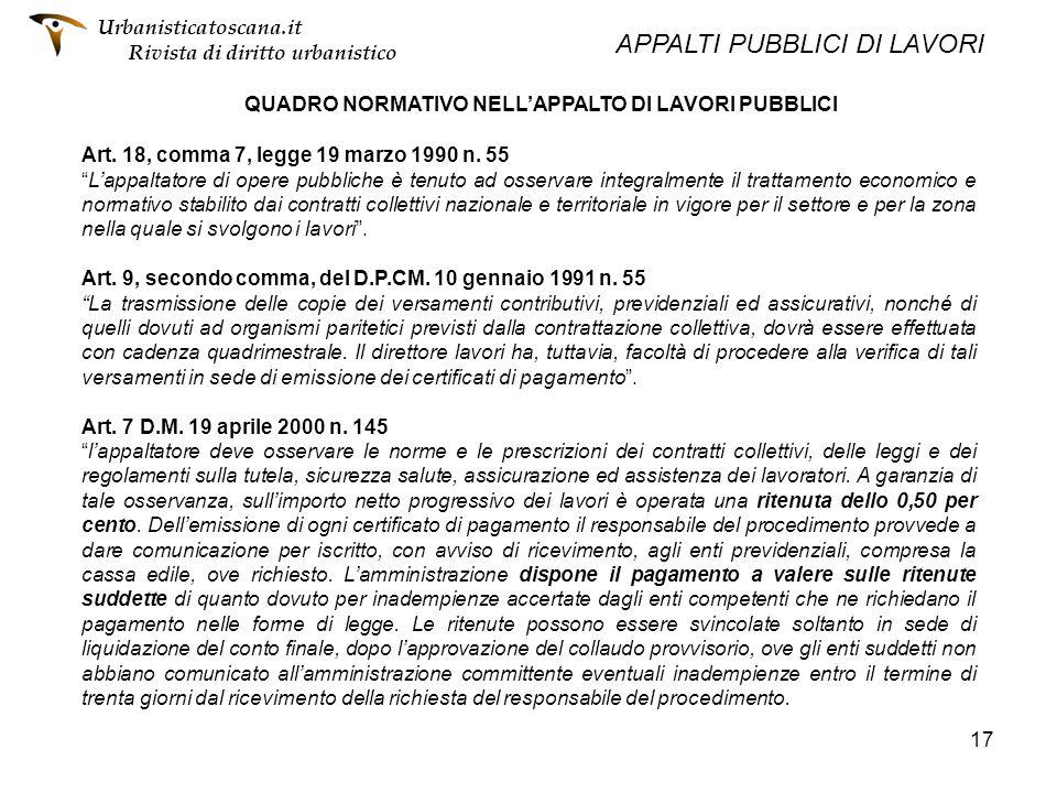 QUADRO NORMATIVO NELL'APPALTO DI LAVORI PUBBLICI