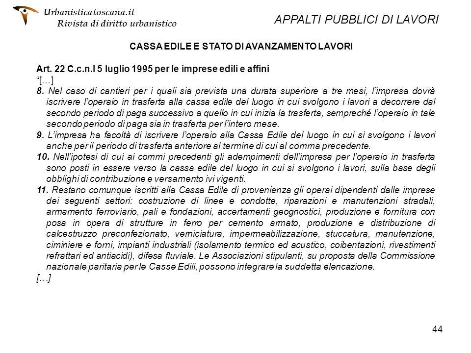 CASSA EDILE E STATO DI AVANZAMENTO LAVORI