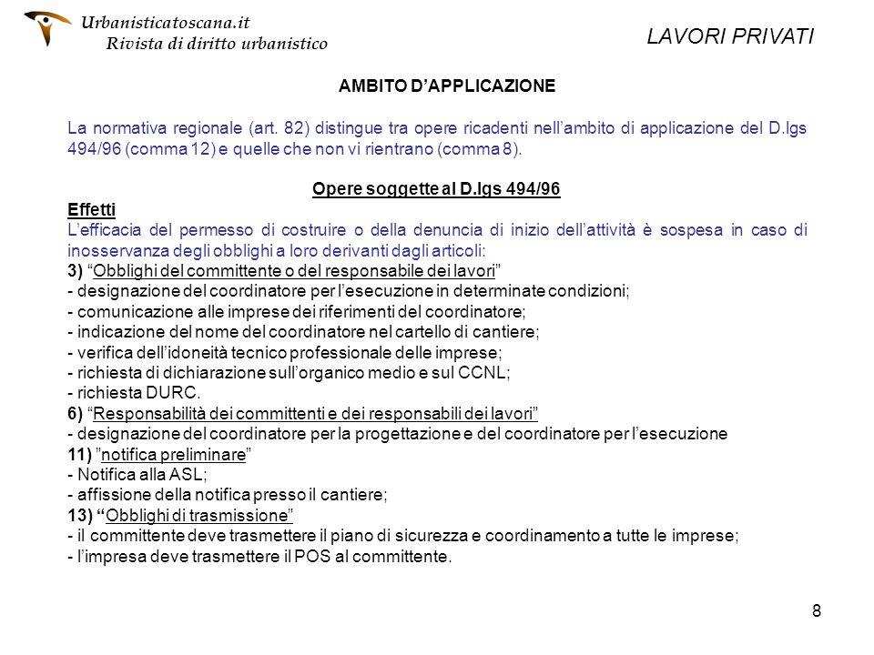 AMBITO D'APPLICAZIONE Opere soggette al D.lgs 494/96