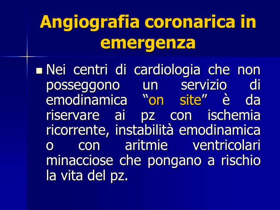 Angiografia coronarica in emergenza