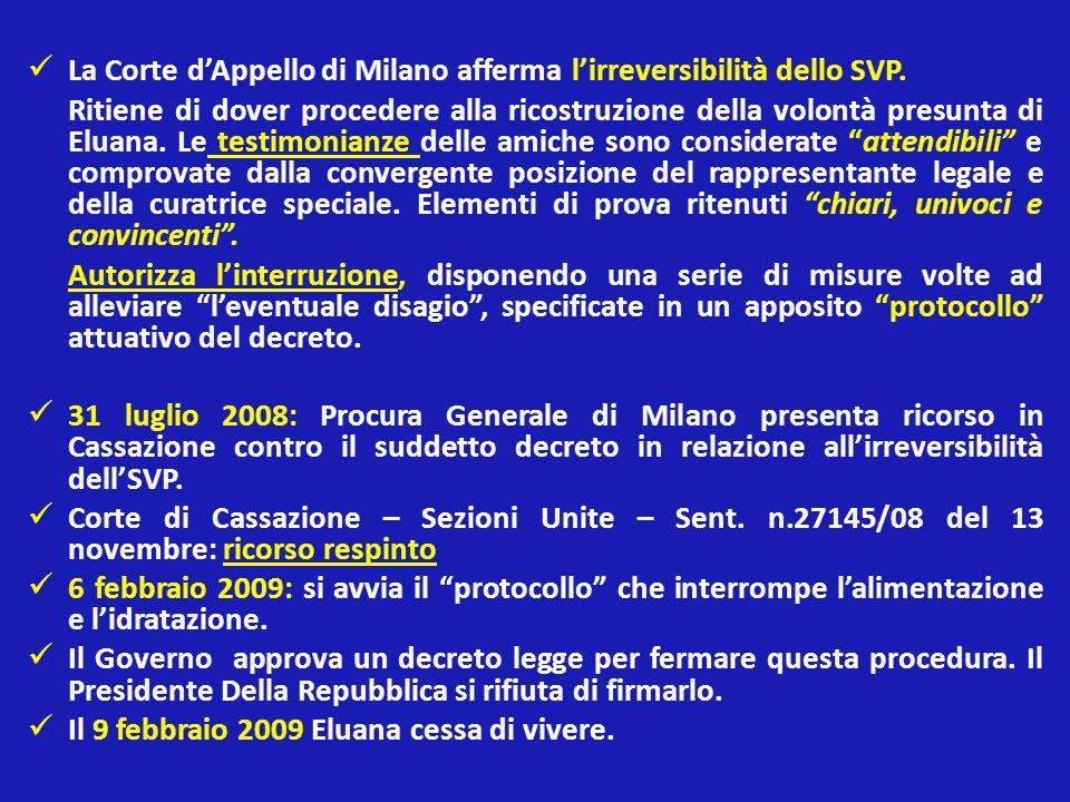 La Corte d'Appello di Milano afferma l'irreversibilità dello SVP.