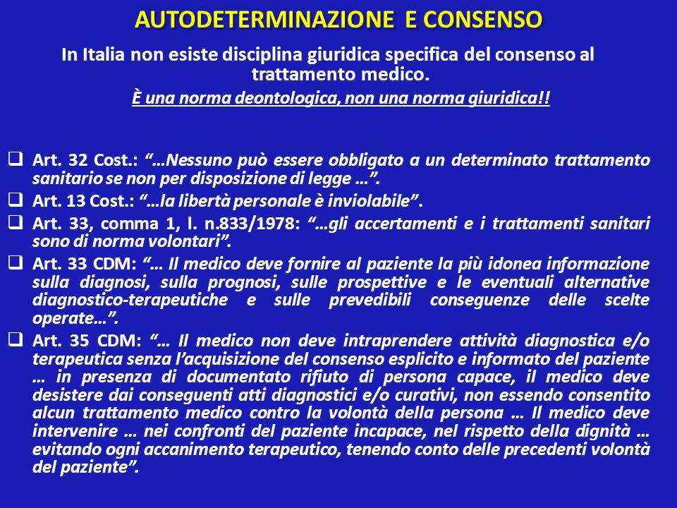 AUTODETERMINAZIONE E CONSENSO