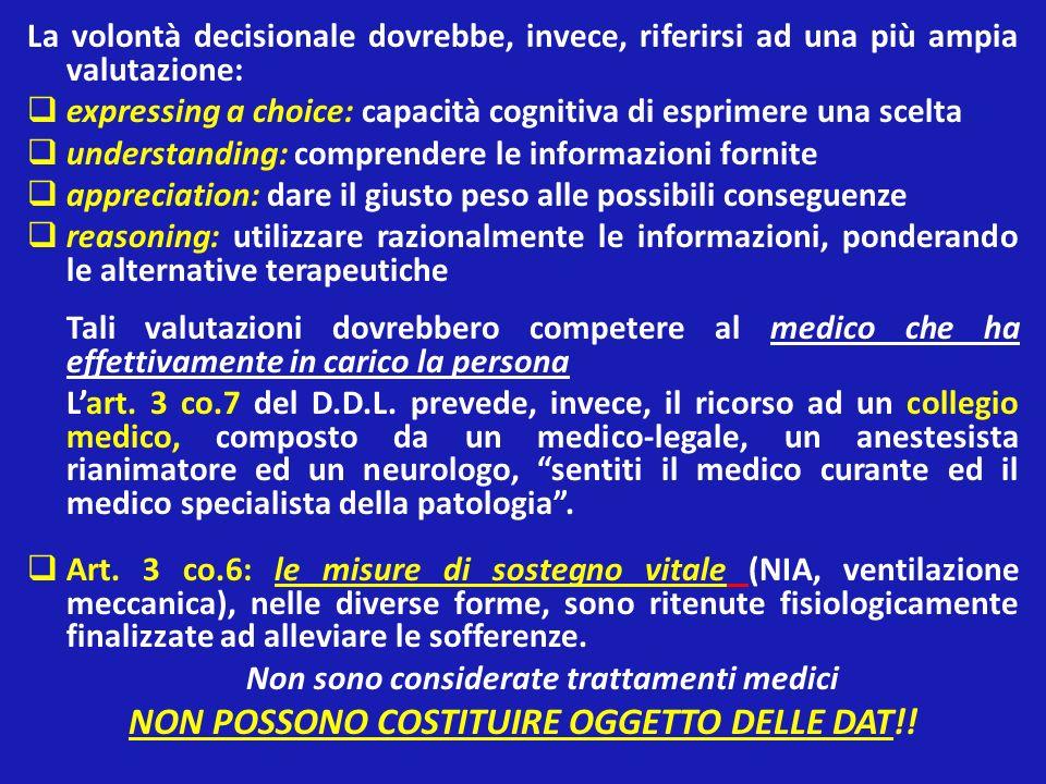 NON POSSONO COSTITUIRE OGGETTO DELLE DAT!!