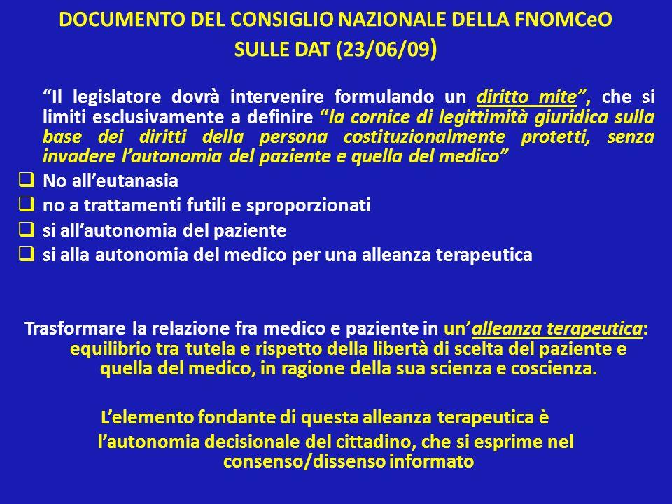 DOCUMENTO DEL CONSIGLIO NAZIONALE DELLA FNOMCeO SULLE DAT (23/06/09)