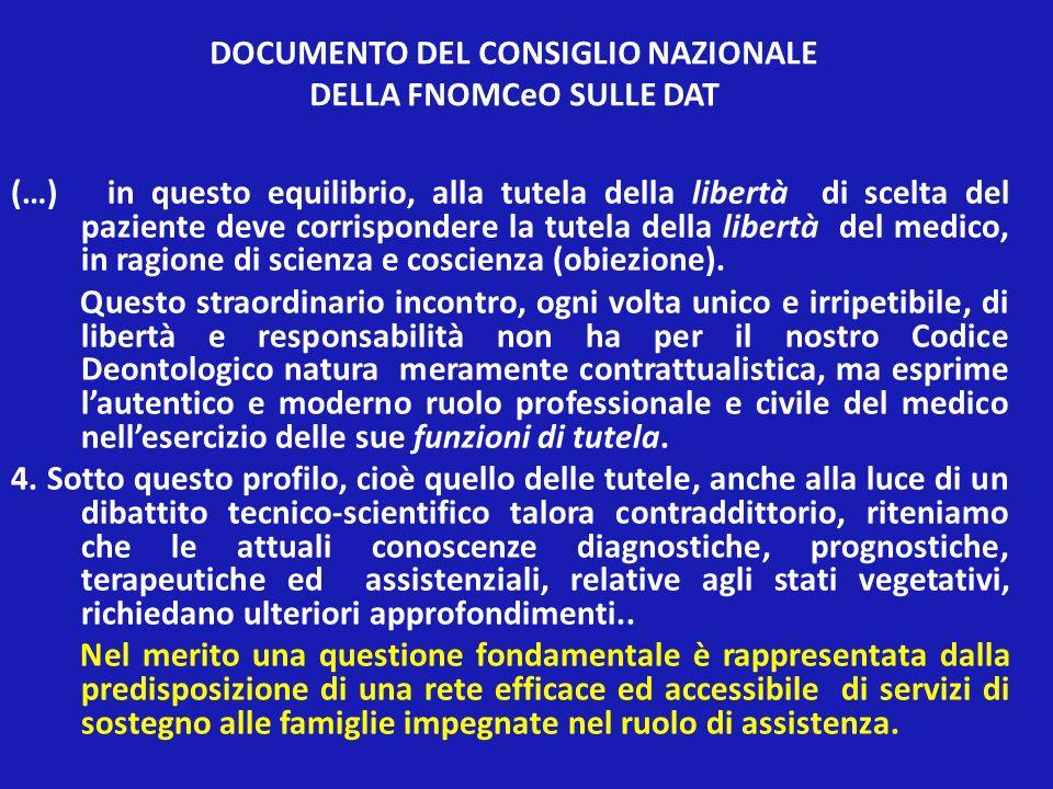 DOCUMENTO DEL CONSIGLIO NAZIONALE DELLA FNOMCeO SULLE DAT