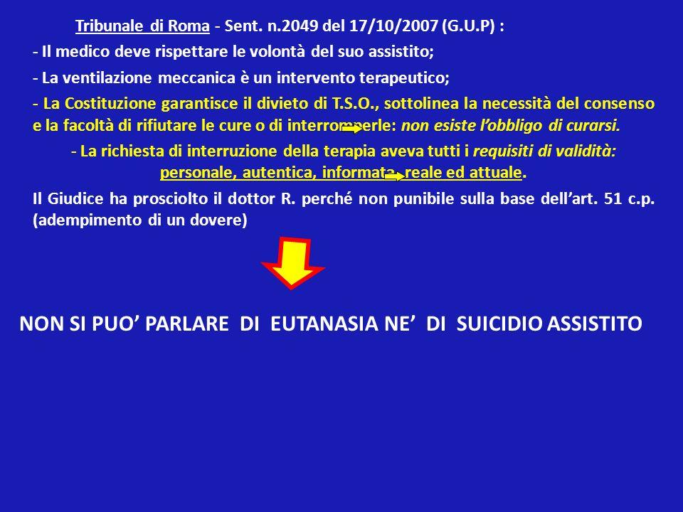 NON SI PUO' PARLARE DI EUTANASIA NE' DI SUICIDIO ASSISTITO