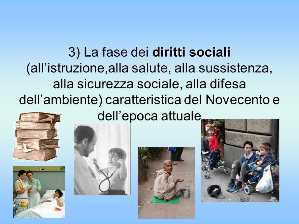 3) La fase dei diritti sociali (all'istruzione,alla salute, alla sussistenza, alla sicurezza sociale, alla difesa dell'ambiente) caratteristica del Novecento e dell'epoca attuale