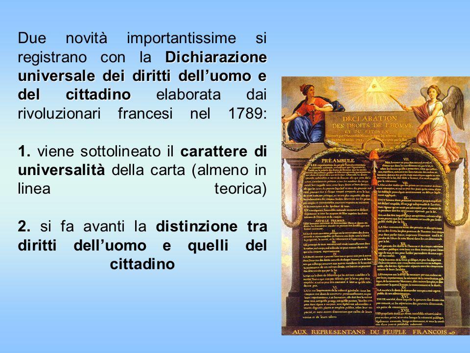 Due novità importantissime si registrano con la Dichiarazione universale dei diritti dell'uomo e del cittadino elaborata dai rivoluzionari francesi nel 1789: 1.