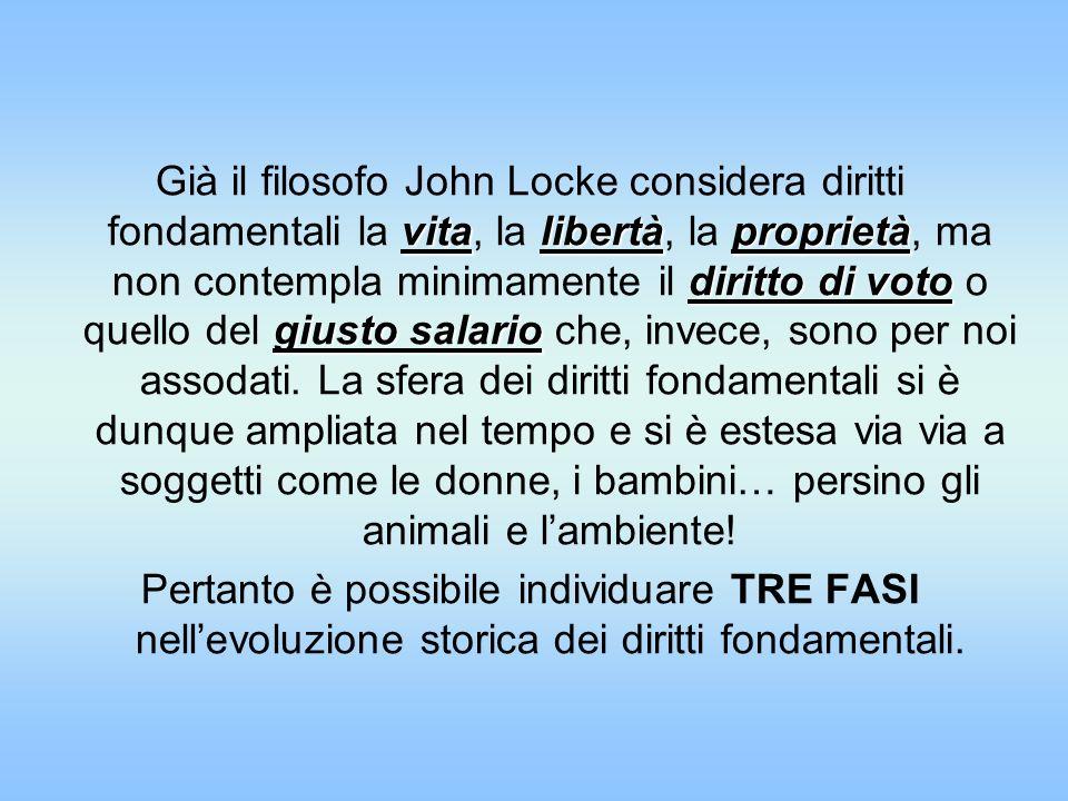 Già il filosofo John Locke considera diritti fondamentali la vita, la libertà, la proprietà, ma non contempla minimamente il diritto di voto o quello del giusto salario che, invece, sono per noi assodati. La sfera dei diritti fondamentali si è dunque ampliata nel tempo e si è estesa via via a soggetti come le donne, i bambini… persino gli animali e l'ambiente!