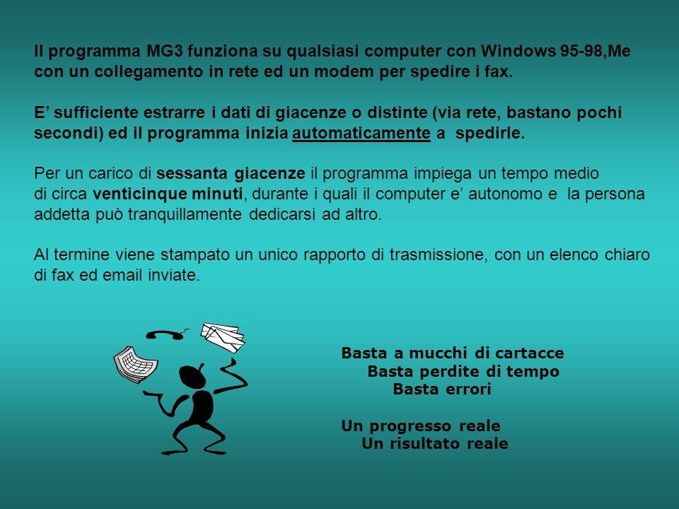 Il programma MG3 funziona su qualsiasi computer con Windows 95-98,Me