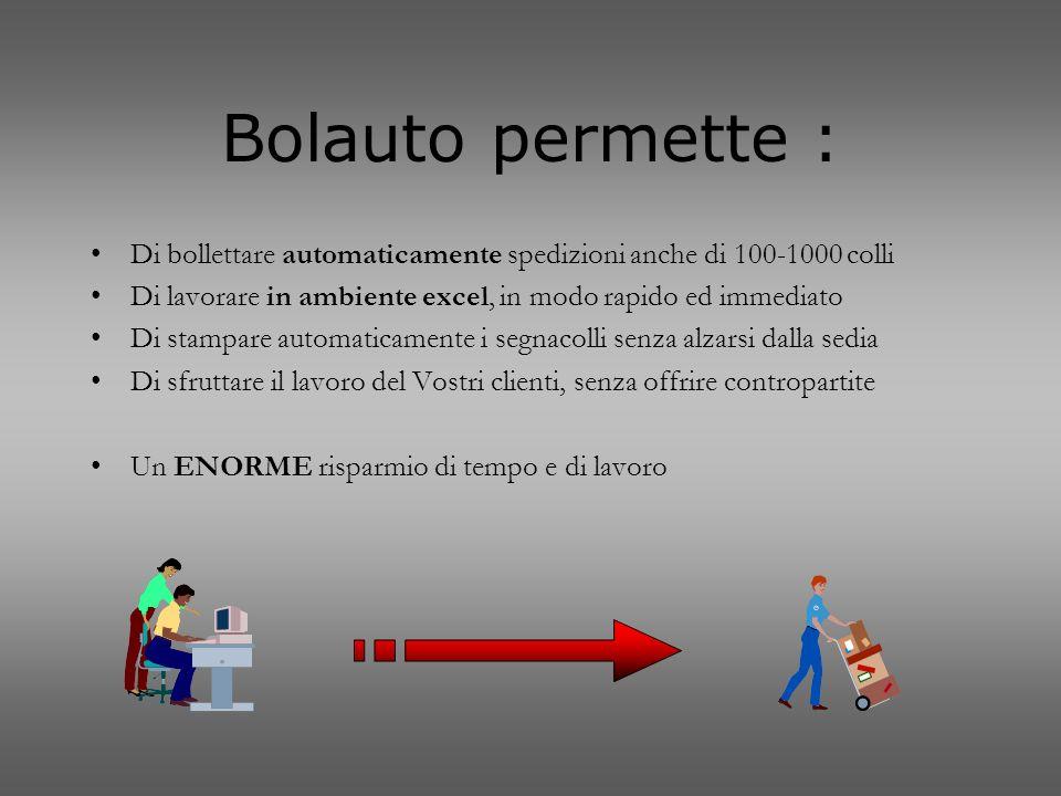 Bolauto permette : Di bollettare automaticamente spedizioni anche di 100-1000 colli. Di lavorare in ambiente excel, in modo rapido ed immediato.
