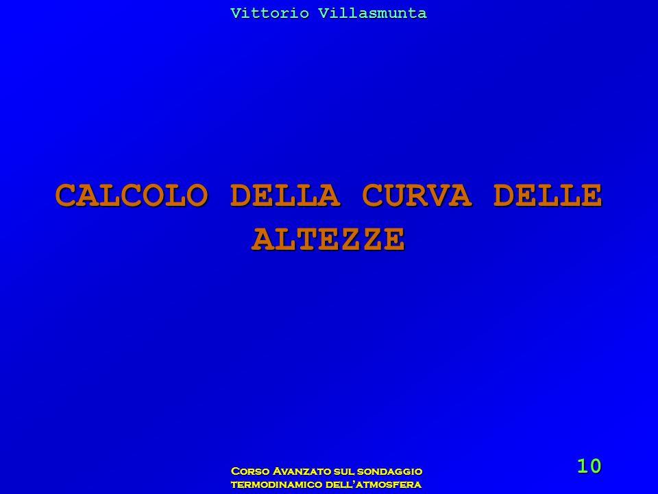CALCOLO DELLA CURVA DELLE ALTEZZE