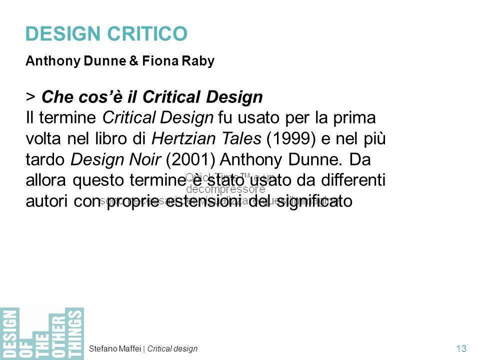 DESIGN CRITICO > Che cos'è il Critical Design