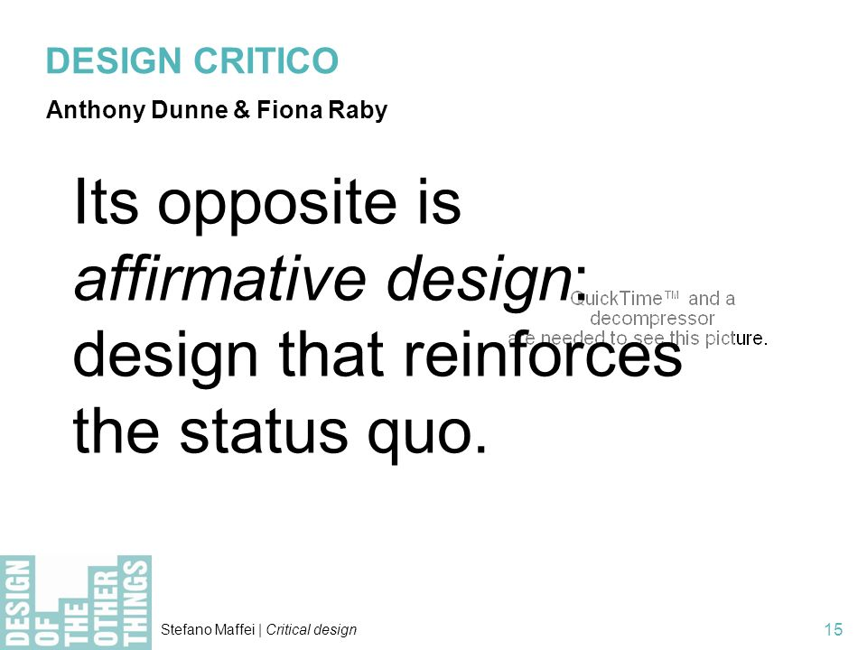 DESIGN CRITICO Anthony Dunne & Fiona Raby.