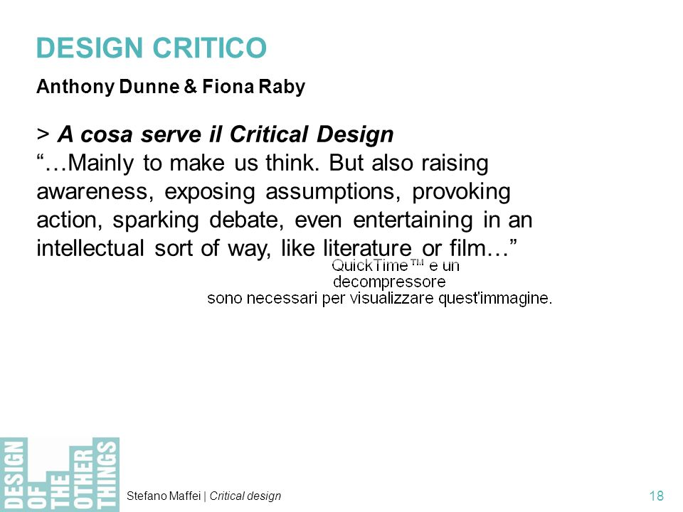 DESIGN CRITICO > A cosa serve il Critical Design
