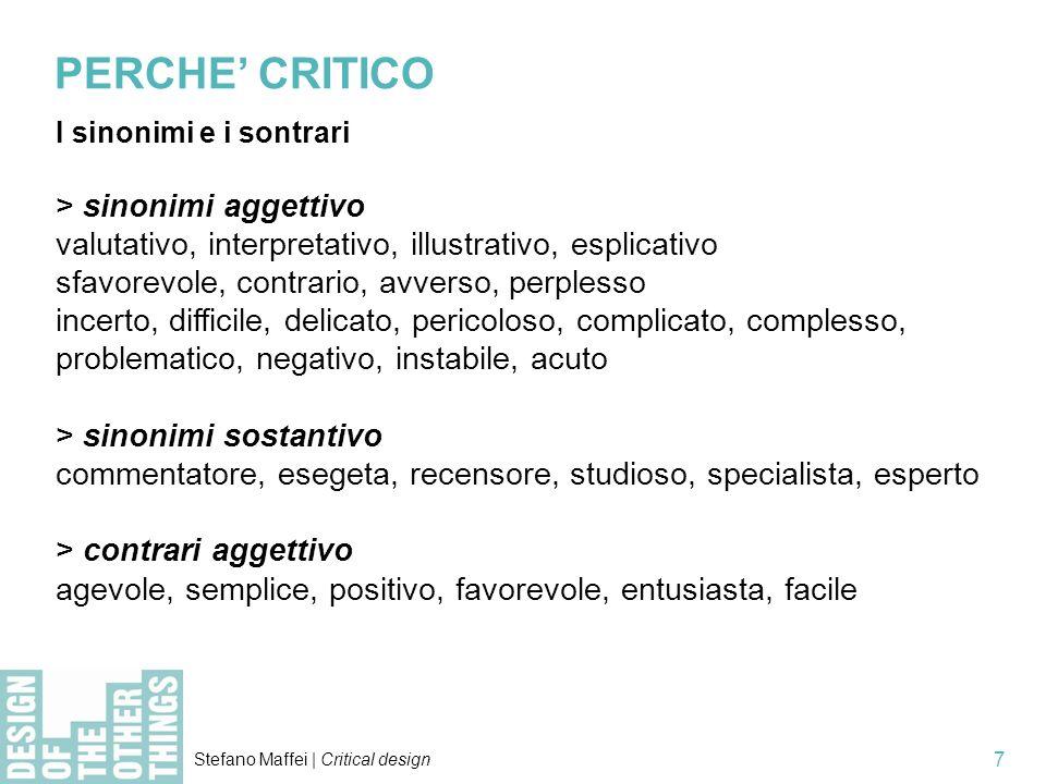 PERCHE' CRITICO > sinonimi aggettivo