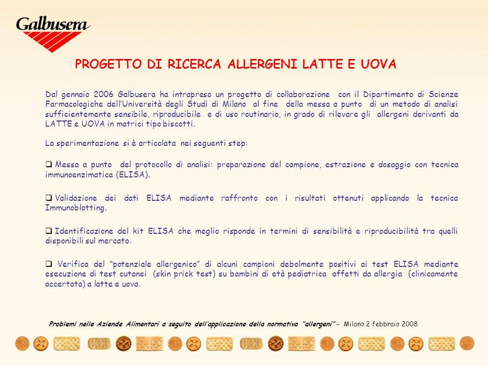 PROGETTO DI RICERCA ALLERGENI LATTE E UOVA