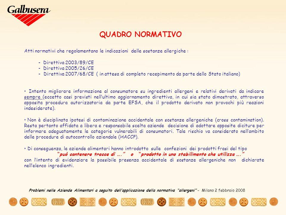 QUADRO NORMATIVO Atti normativi che regolamentano le indicazioni delle sostanze allergiche : - Direttiva 2003/89/CE.