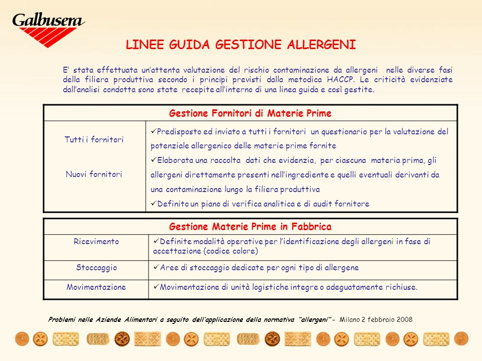 LINEE GUIDA GESTIONE ALLERGENI
