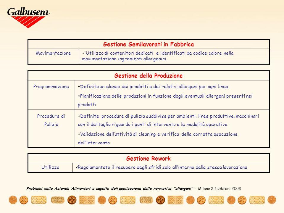 Gestione Semilavorati in Fabbrica Gestione della Produzione