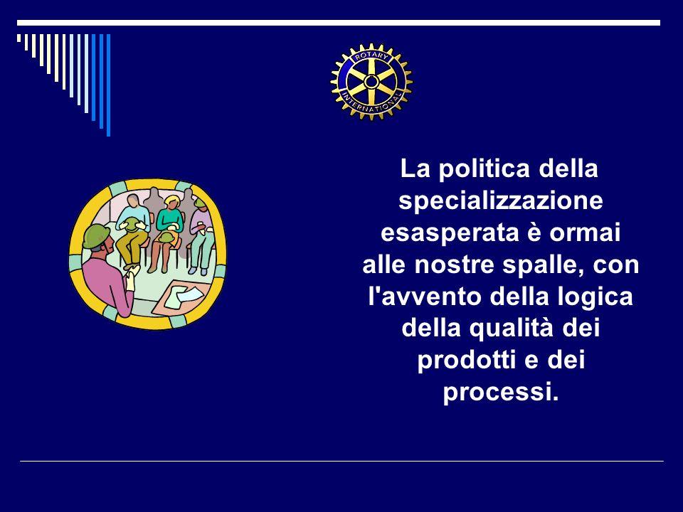 La politica della specializzazione esasperata è ormai alle nostre spalle, con l avvento della logica della qualità dei prodotti e dei processi.
