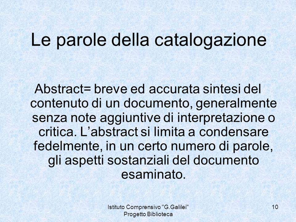 Le parole della catalogazione