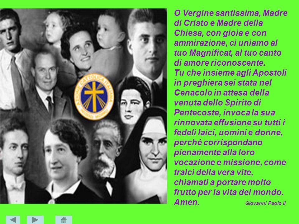 O Vergine santissima, Madre di Cristo e Madre della Chiesa, con gioia e con ammirazione, ci uniamo al tuo Magnificat, al tuo canto di amore riconoscente.