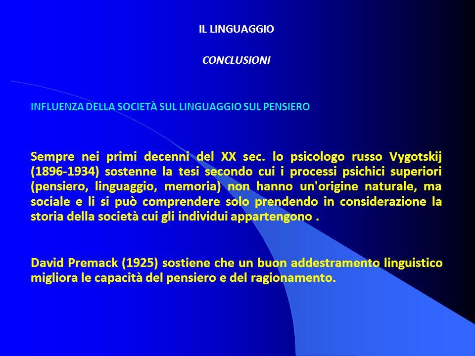 IL LINGUAGGIO CONCLUSIONI. INFLUENZA DELLA SOCIETÀ SUL LINGUAGGIO SUL PENSIERO.