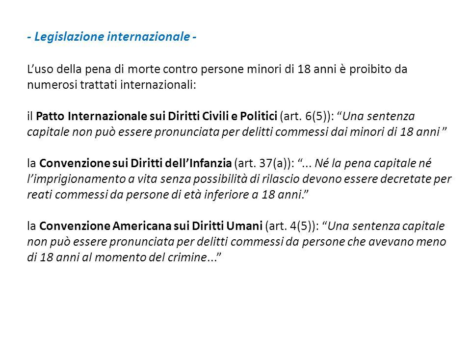 - Legislazione internazionale -