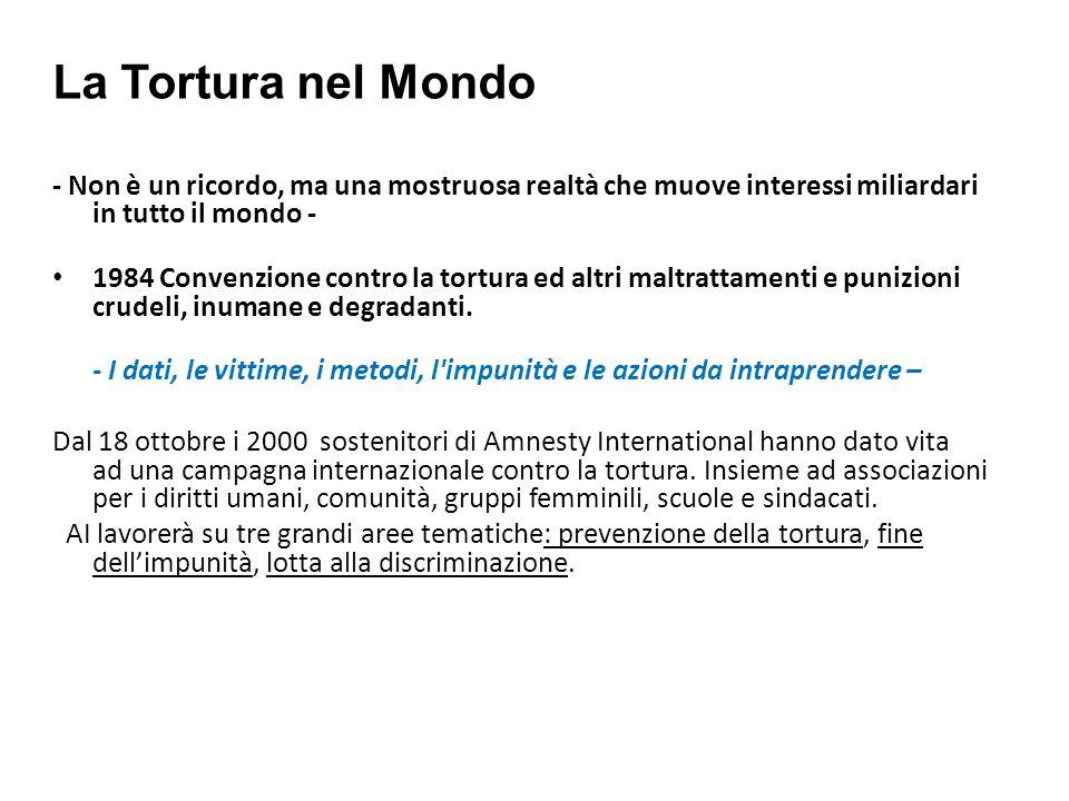 La Tortura nel Mondo- Non è un ricordo, ma una mostruosa realtà che muove interessi miliardari in tutto il mondo -