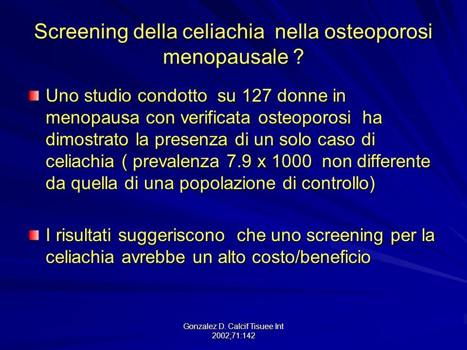 Screening della celiachia nella osteoporosi menopausale