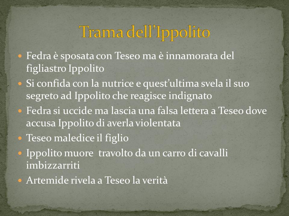 Trama dell'IppolitoFedra è sposata con Teseo ma è innamorata del figliastro Ippolito.