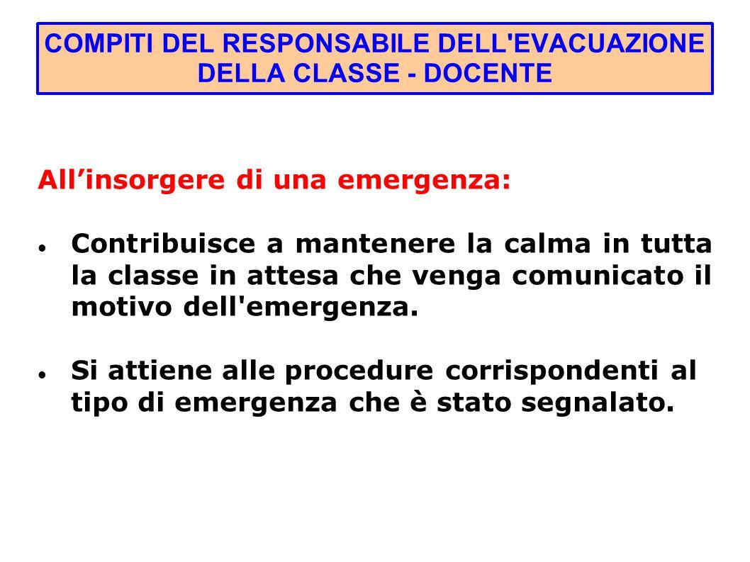 COMPITI DEL RESPONSABILE DELL EVACUAZIONE DELLA CLASSE - DOCENTE